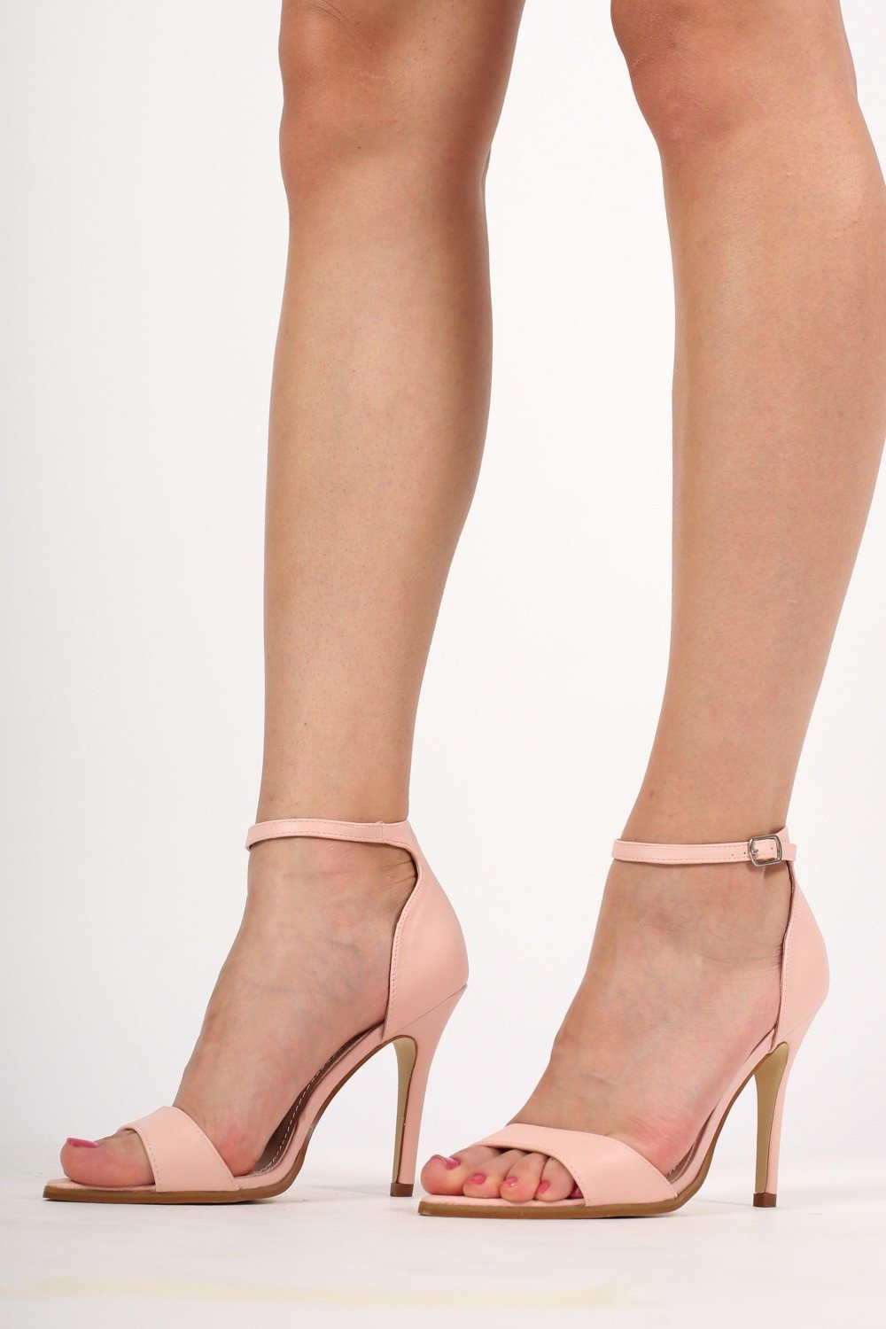 Maya Barely There Strappy High Heel Sandals in Pale Pink MODEL FRONT