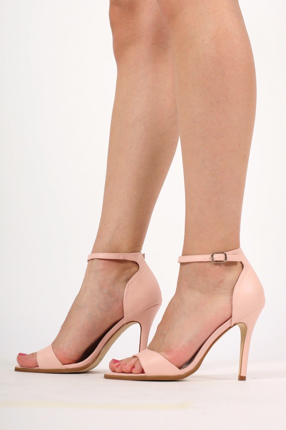 5ac72a1f12a Maya Barely There Strappy High Heel Sandals in Pale Pink MODEL SIDE