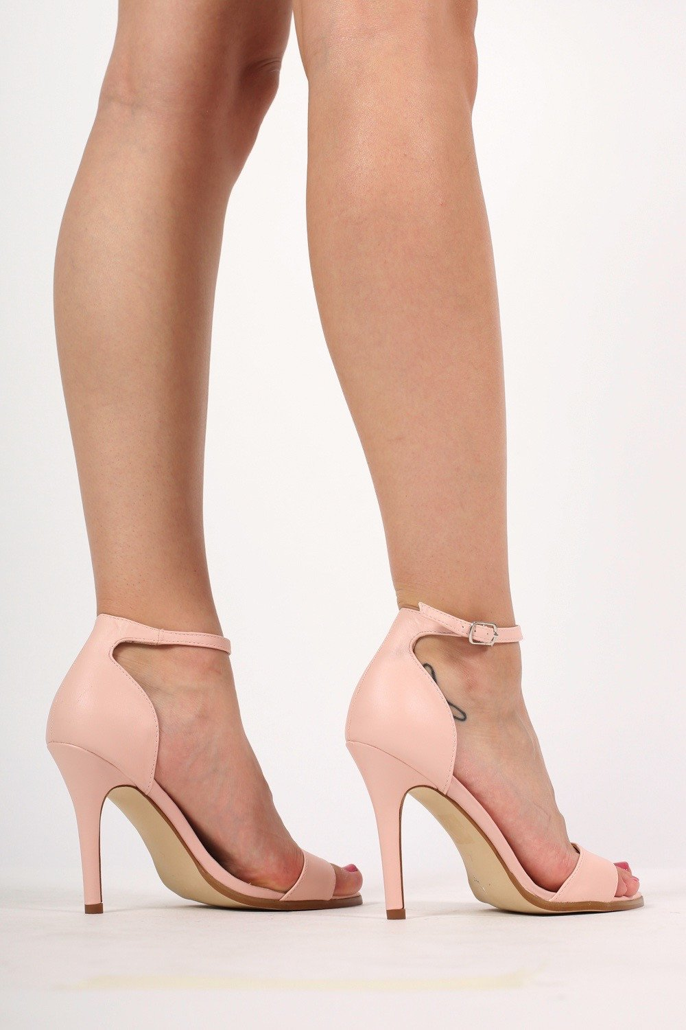 0b0b6ef75ba Maya Barely There Strappy High Heel Sandals in Pale Pink MODEL SIDE 2