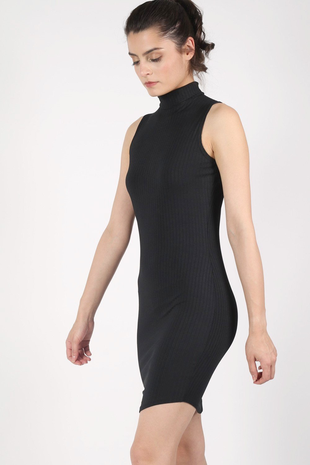 High Neck Sleeveless Rib Bodycon Dress in Black 0