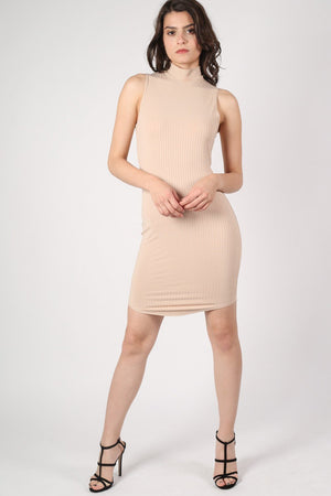 High Neck Sleeveless Rib Bodycon Dress in Camel Brown 1