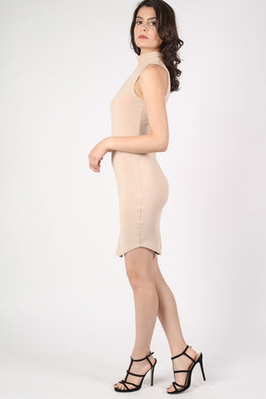 High Neck Sleeveless Rib Bodycon Dress in Camel Brown 2