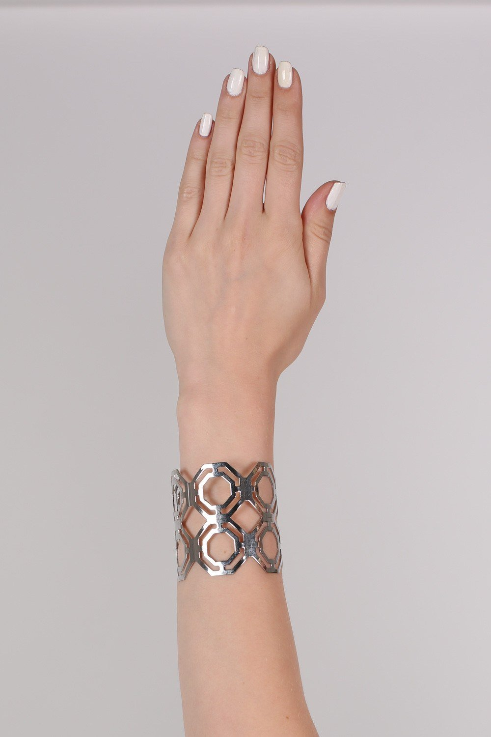 Geometric Cut Out Cuff Bracelet in Silver 0