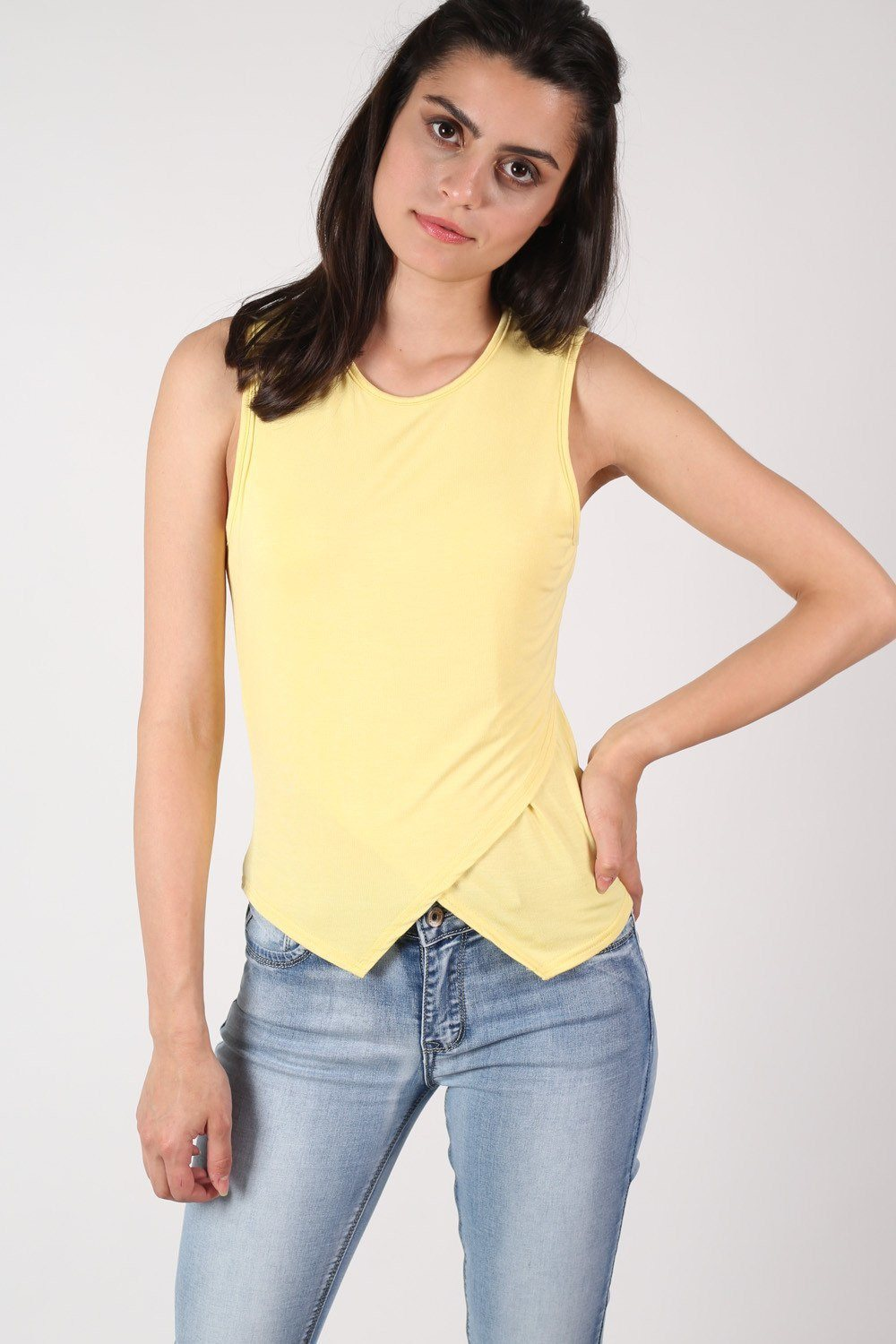 Wrap Front Sleeveless Top in Yellow 0