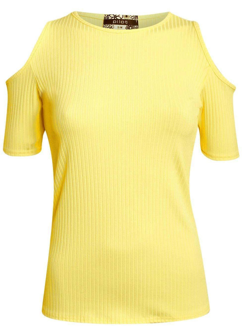Cold Shoulder Ribbed Top in Yellow 0