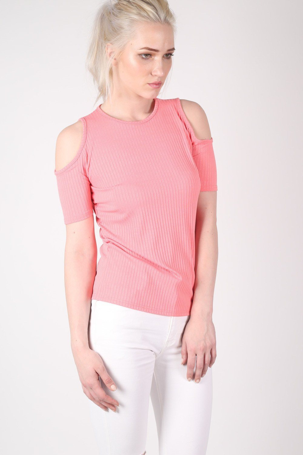 Cold Shoulder Ribbed Top in Coral 0