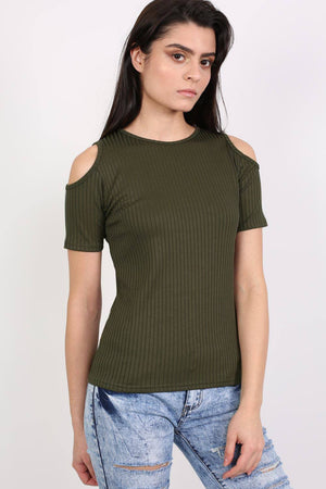 Cold Shoulder Ribbed Top in Khaki Green MODEL FRONT