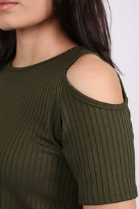 Cold Shoulder Ribbed Top in Khaki Green MODEL CLOSE UP
