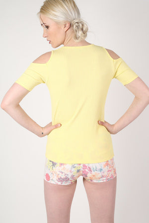 Cold Shoulder Ribbed Top in Yellow MODEL BACK