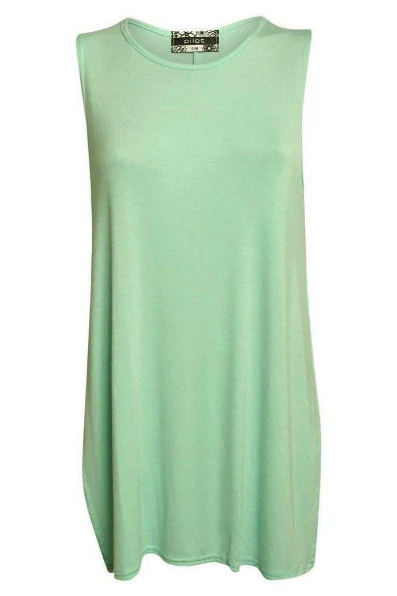 Side Split Sleeveless Top in Mint Green 2