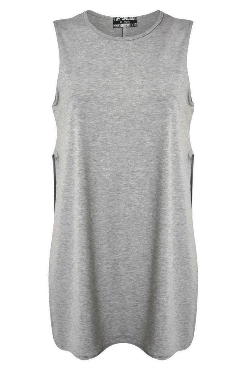 Side Split Sleeveless Top in Grey 2