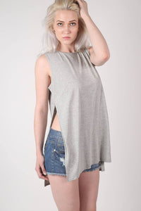 Side Split Sleeveless Top in Grey 1