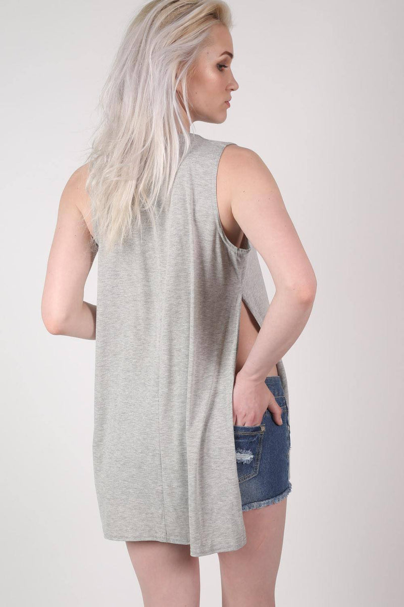 Side Split Sleeveless Top in Grey 3