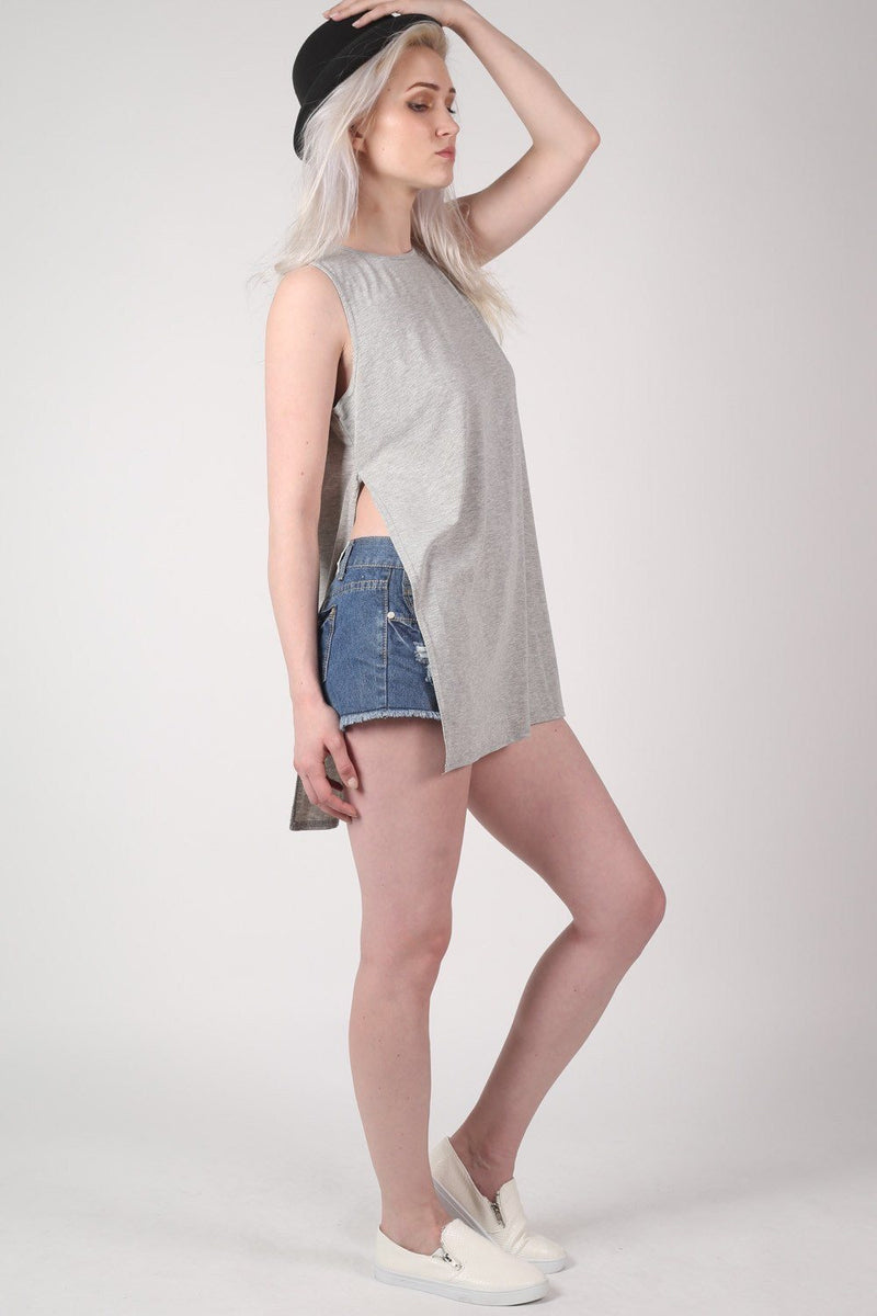 Side Split Sleeveless Top in Grey 4