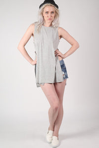 Side Split Sleeveless Top in Grey 5
