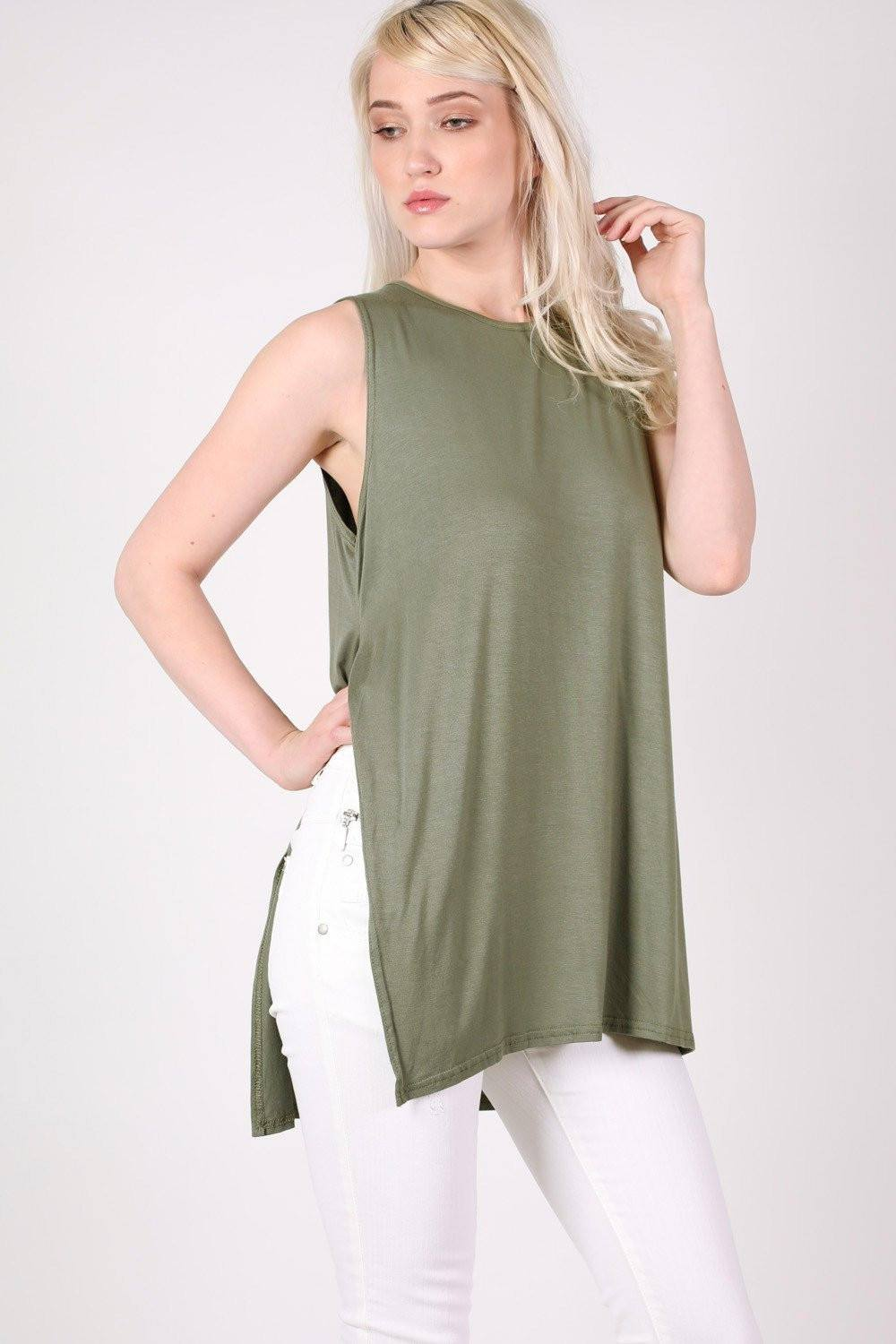 Side Split Sleeveless Top in Khaki Green 0
