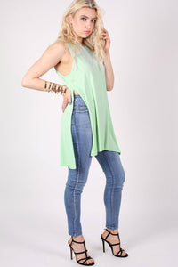 Side Split Sleeveless Top in Mint Green 0