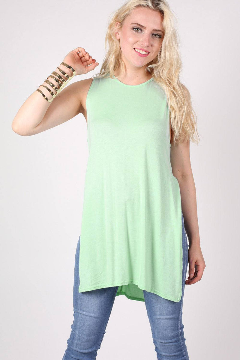 Side Split Sleeveless Top in Mint Green 1