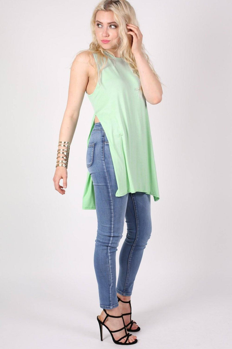 Side Split Sleeveless Top in Mint Green 3