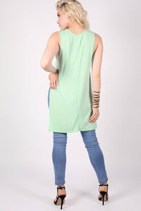 Side Split Sleeveless Top in Mint Green 4