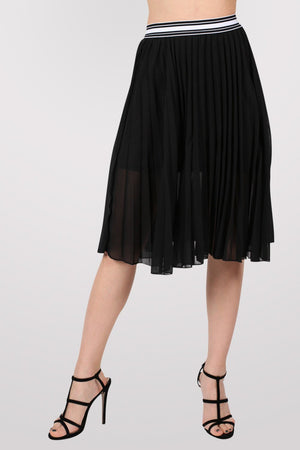 Pleated Midi Skirt in Black 1