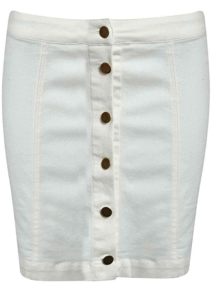 Button Front Mini Skirt in White 2