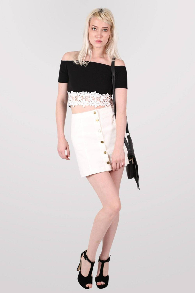 Button Front Mini Skirt in White 0