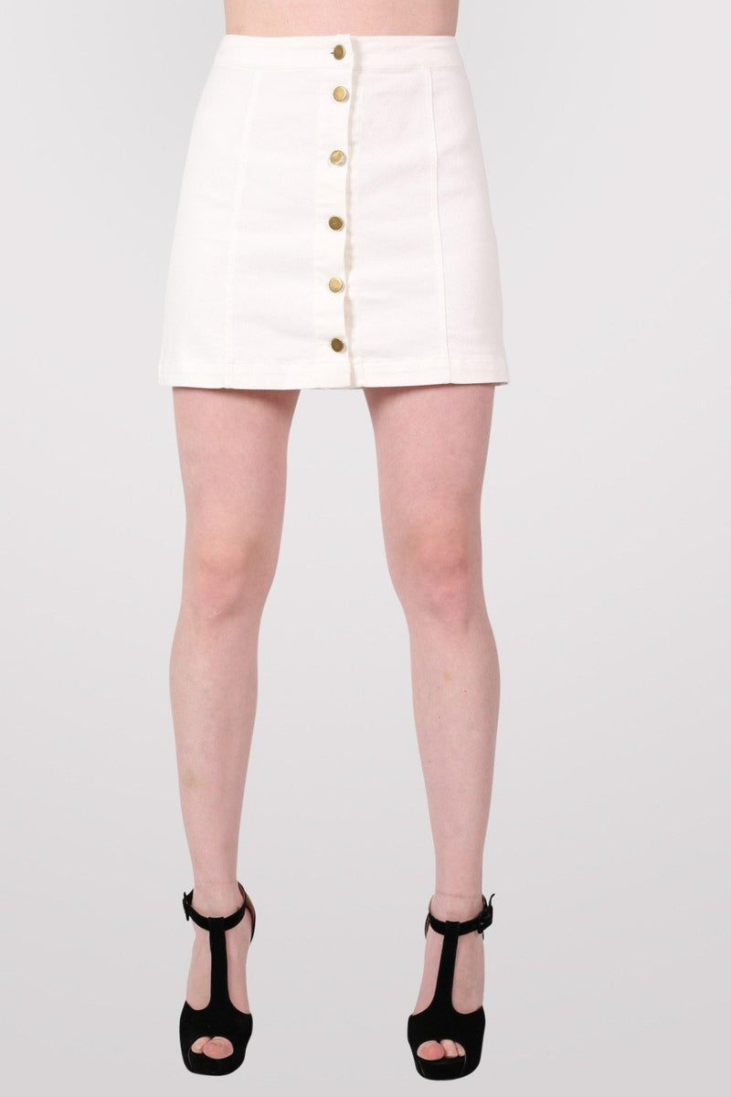 Button Front Mini Skirt in White 1