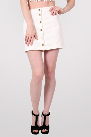 Button Front Mini Skirt in White 3