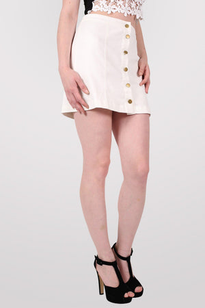 Button Front Mini Skirt in White 4