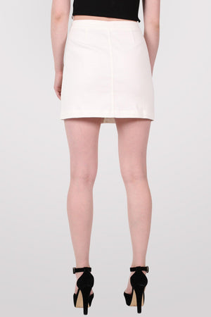 Button Front Mini Skirt in White 5
