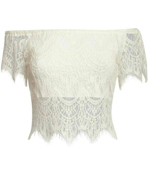 Eyelash Crochet Bardot Crop Top in Cream 2