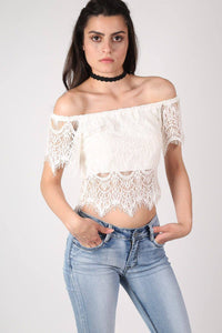 Eyelash Crochet Bardot Crop Top in Cream 0