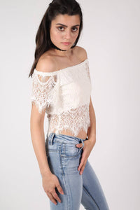 Eyelash Crochet Bardot Crop Top in Cream 3