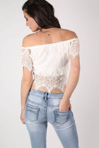 Eyelash Crochet Bardot Crop Top in Cream 4