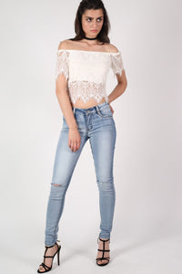 Eyelash Crochet Bardot Crop Top in Cream 5