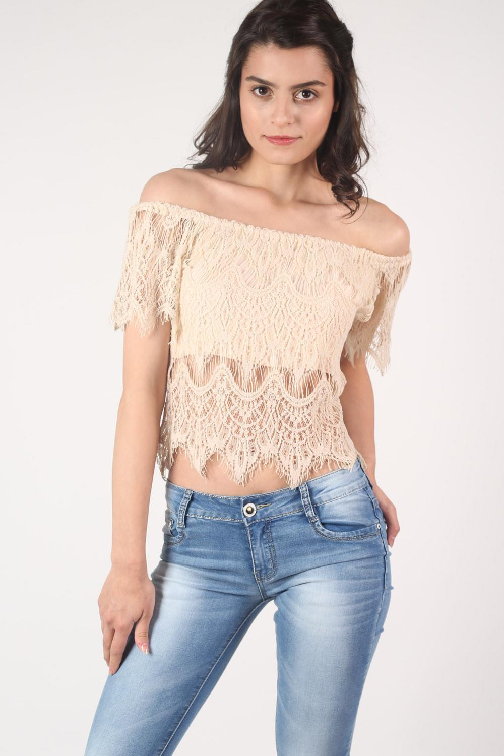Eyelash Crochet Bardot Crop Top in Nude MODEL FRONT