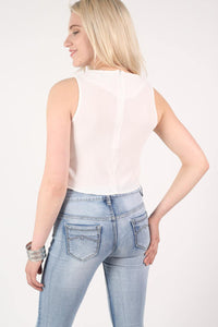 Cross Front Crop Top in Cream MODEL BACK