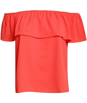 Chiffon Bardot Top in Coral 2