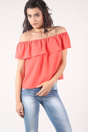Chiffon Bardot Top in Coral 0