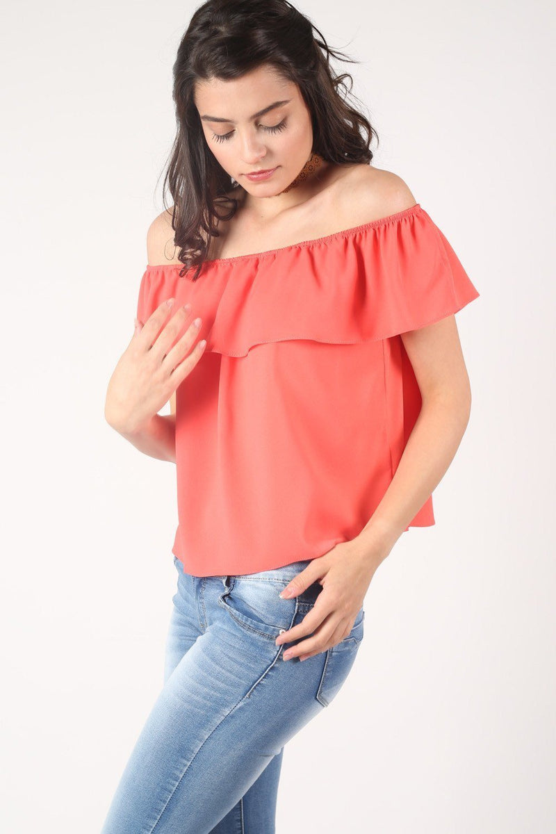 Chiffon Bardot Top in Coral 1