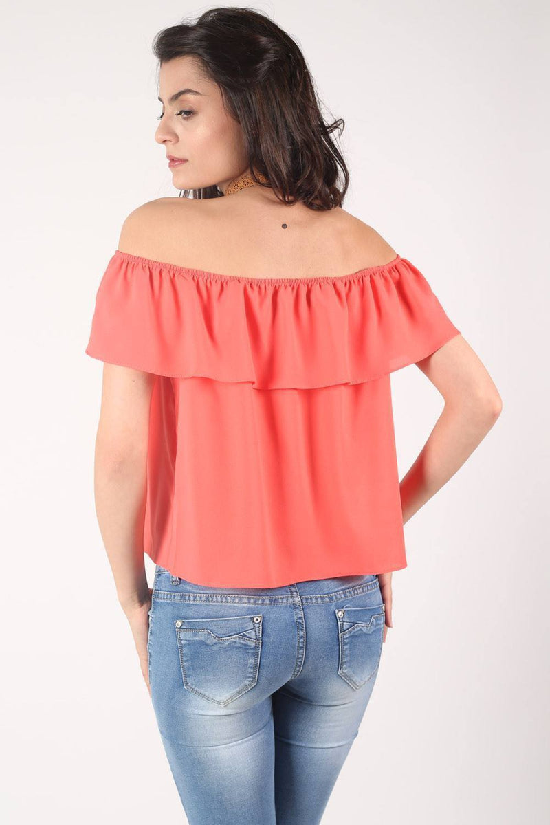 Chiffon Bardot Top in Coral 3