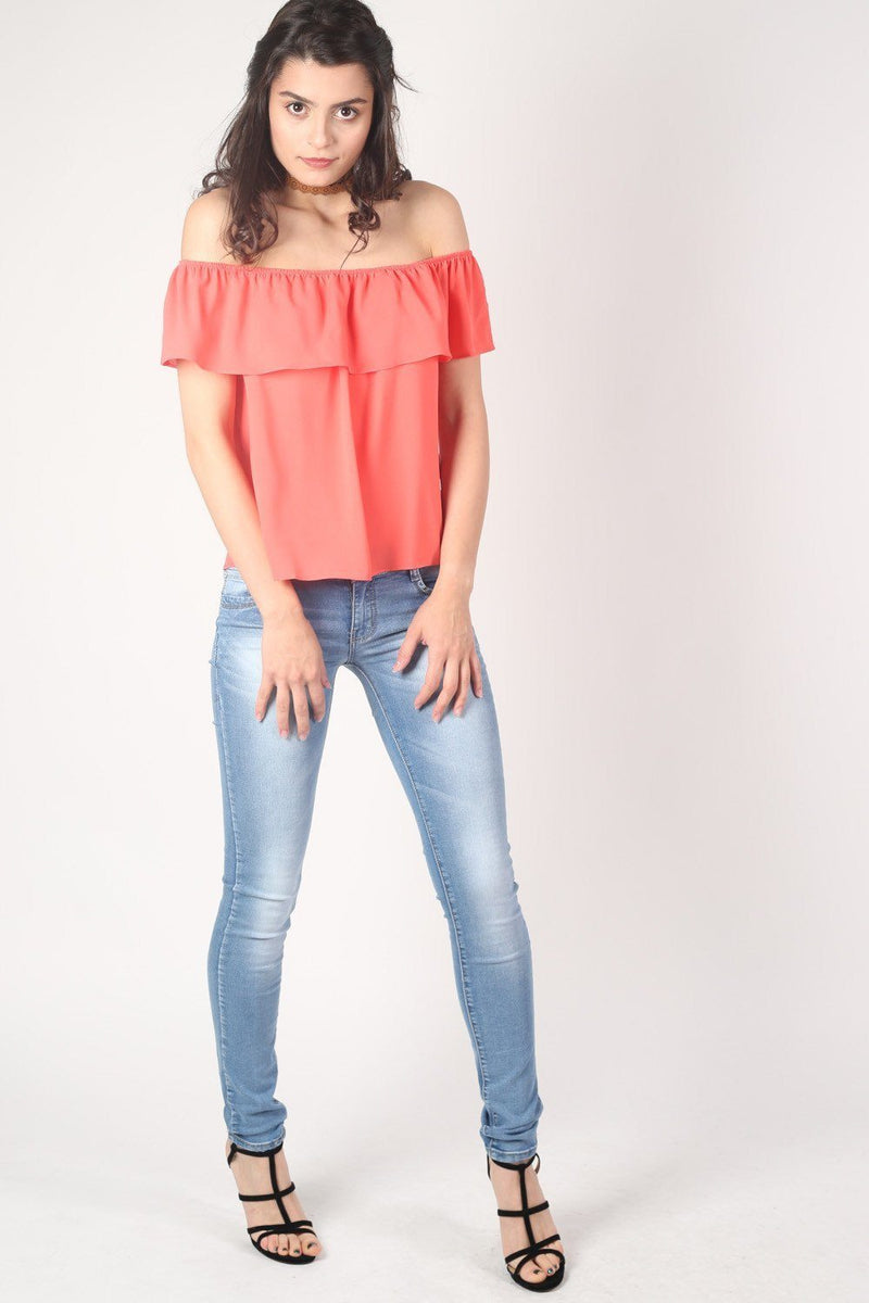 Chiffon Bardot Top in Coral 4
