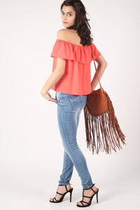 Chiffon Bardot Top in Coral 5