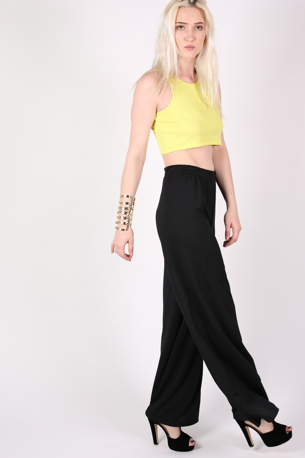 Flared Crepe Palazzo Trousers MODEL SIDE