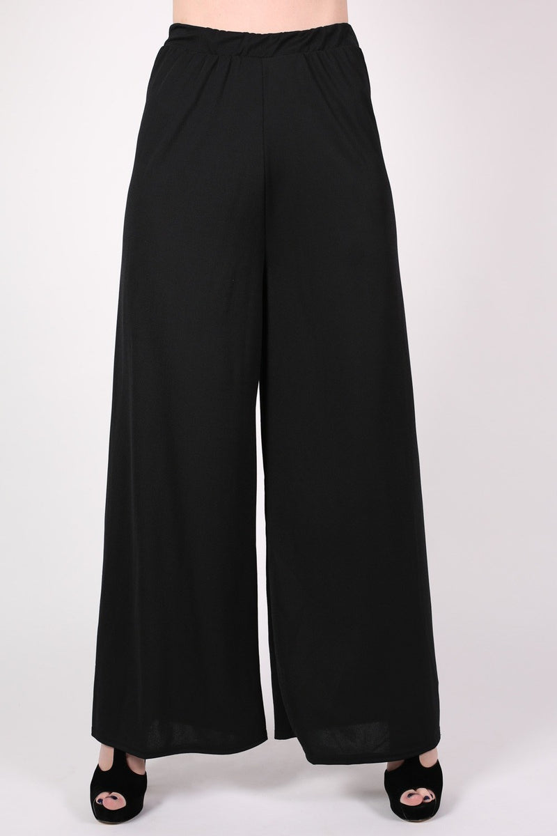 Flared Crepe Palazzo Trousers MODEL FRONT
