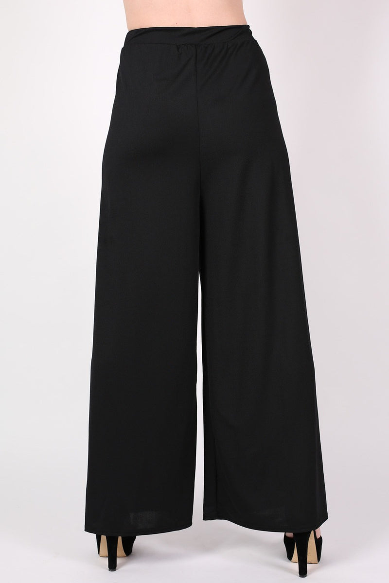 Flared Crepe Palazzo Trousers MODEL BACK
