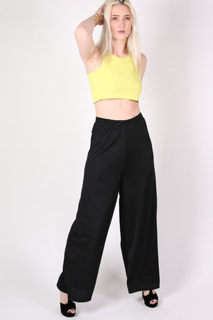 Flared Crepe Palazzo Trousers MODEL FRONT 2