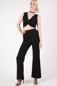 Textured Flared Trousers in Black 0