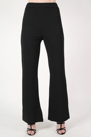 Textured Flared Trousers in Black 1